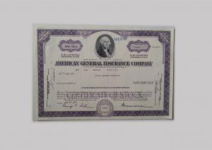 Historische Aktie der American General Insurance Company - ein Investment in Aktien