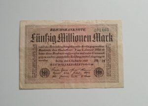 Geldschein über 50 Millionen Mark während der Inflation